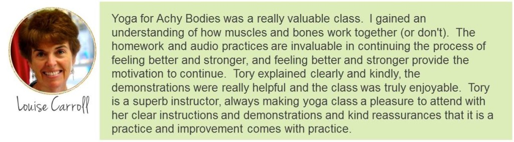 Yoga for Achy Bodies Testimonial